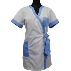 Fartuch damski wiązany WIOLA, krótki rękaw, biały lub kolorowy z wstawkami, elanobawełna