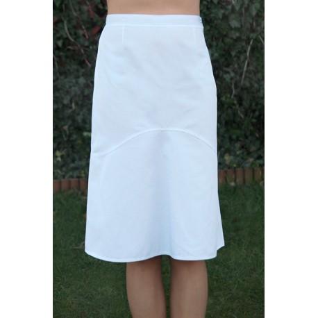 Spódnica OLGA biała poszerzana za kolano