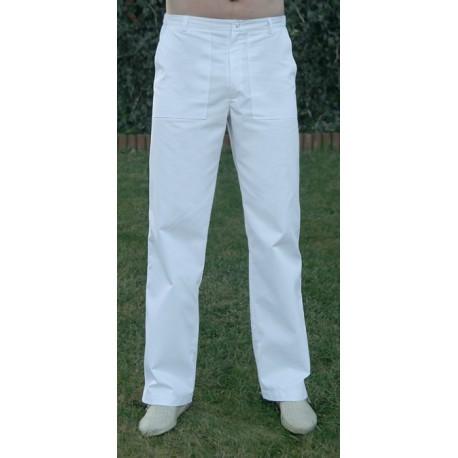 Spodnie męskie BRUNO na guzik naszywane kieszenie białe