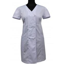 Fartuch długi/sukienka medyczna LIDIA II biały - także ciążowy