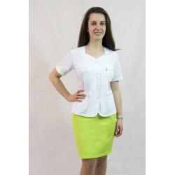 KOMPLET: Fartuch krótki (żakiecik medyczny) ANETA biały z kolorowymi wstawkami + spódnica KASIA kolor