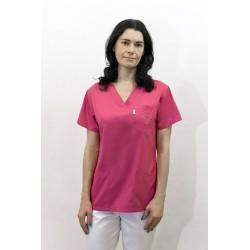 Bluza medyczna damska KORNELIA jednokolorowa z elanobawełny z ozdobnym haftem