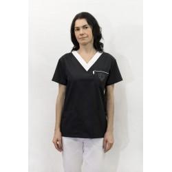 Bluza medyczna damska KORNELIA kolorowa z białym kołnierzykiem z elanobawełny z ozdobnym haftem