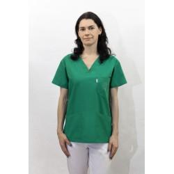 Bluza medyczna damska KORNELIA bawełna 100% - ciemna zieleń medyczna, ozdobny haft