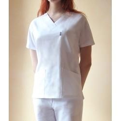 Bluza medyczna damska EWA biała z elanobawełny