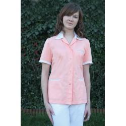Fartuch damski krótki IGA kolorowy z wstawkami, krótki rękaw
